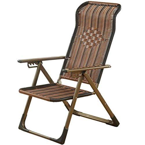 Klappbarer Gartenstuhl aus Rattan, 5-stufige verstellbare Liegen, Outdoor relaxsessel Garten mit Breiten Armlehnen, Stahlstruktur, geeignet für Garten, Terrasse, Strand (braun)