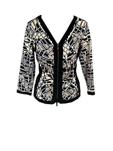 Joseph Ribkoff 173889 Black/Beige Front Zip Jacket Style 173889 (46)