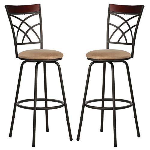VECELO Adjustable Height Classic Bar Stools 360 Degree Swivel Counter Pub Chairs, Breathable Padded Seat with Comfortable Footrest & Back Barstools(Set of 2), Style C, Retro Brown, B