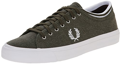 Fred Perry Men's Kendrick Tipped Pgmnt Dyed CNV, Forest Night/White, 12 UK/13.0 M US