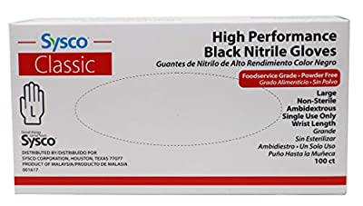Sysco Nitrile High Performance Gloves, Powder Free, Food Grade, Disposable (100 Gloves Pack) (Large - Black)