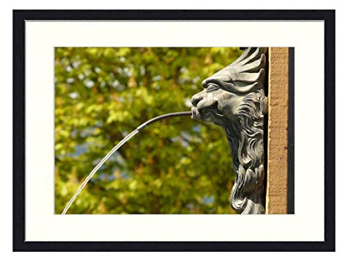 OiArt Wall Art Print Wood Framed Home Decor Picture Artwork(24x16 inch) - Gargoyle Fountain Water Drainage Architecture