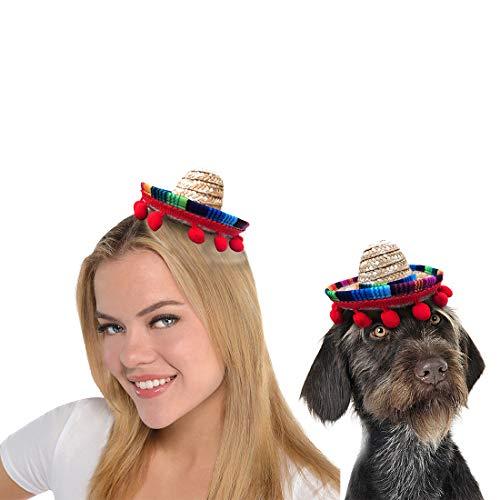 Yeahbudddy Sombreros de niña, sombreros de mascotas, para Hallowen, fiesta de Christamas (sombrero rojo paja)