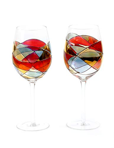 ANTONI BARCELONA Large Wine Glasses (29 Oz) - Handblown & Handmade, Painted Blue Wine Glass, Gifts for Women, Birthdays, Anniversaries, and Weddings (Red, Set 2)