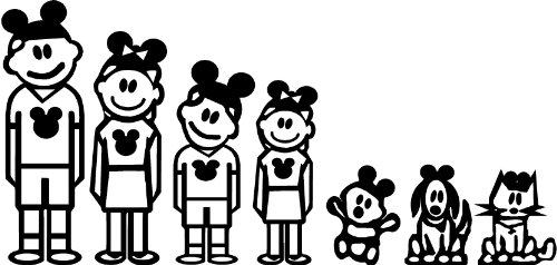 Global Graffix Disney Stick Family Wall or Car Truck Decal Sticker Home Decor 12.5' x 6'