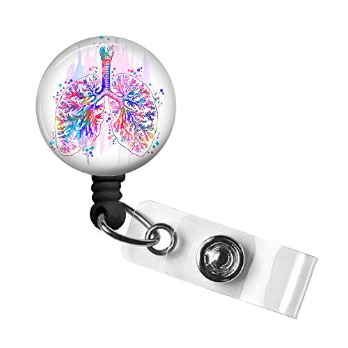 Badge Reel, Anatomy Retractable ID Badge Holder, ID Badge Clip with Swivel Alligator Clip and 34in. Nylon Cord for Medical ID, MD, Doctor, RN, Nurse, Tech, PA, CNA, Gift (Lungs White Background)