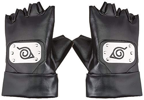 N / A Naruto Handschuhe , Naruto Kakashi Hatake Konoha Handschuhe Cosplay Zubehör, Black Leather Gloves Konoha Schwarze Lederhandschuhe