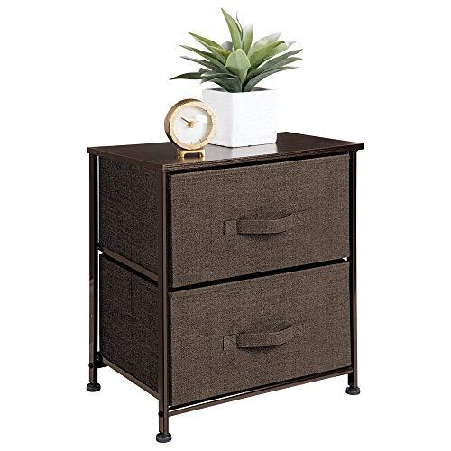 mDesign Comodino in stoffa con due cassetti – Organizer ideale per le camere da letto – Ideale in camera da letto o in molti altri spazi della casa – caffè