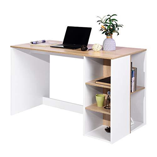 Mueble Coy para Ordenador con Estante de Almacenamiento, Mesa de Oficina en casa, estación de Trabajo de Madera, 120 x 60 x 75 cm