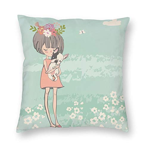 Duduho Cozy Throw Pillow Cover Cute Cartoon Little Girl with French Bulldog Decorative Square Pillowcase Throw Cushion Case for Bedroom, Living Room, Sofa, Couch and Bed, 20 x 20 Inches