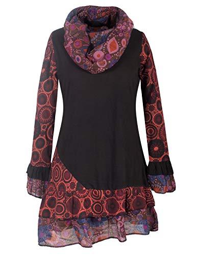 Vishes - Alternative Bekleidung - Damen Langarm Mandala Rüschen-Kleid mit Kapuzenschal schwarz 38-40