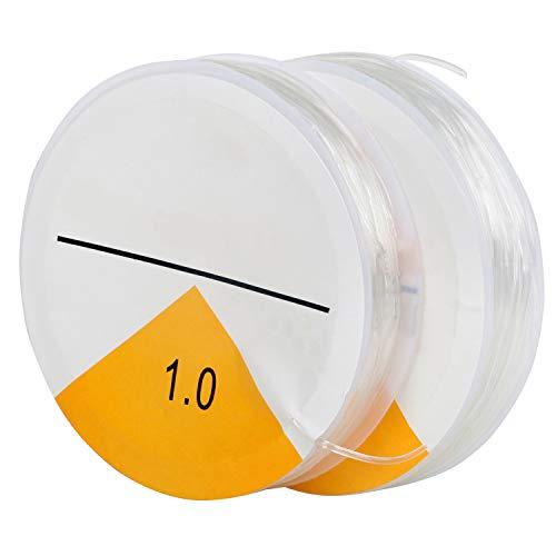 TRIXES Fil Extensible Élastique Transparent Fabrication de Bracelets - Fil pour Bijoux 2X Transparent 8 Mètres de Ficelle 1 mm