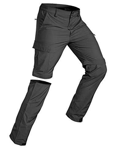 Wespornow Men's-Convertible-Hiking-Pants Quick Dry Lightweight Zip Off Breathable Cargo Pants for Outdoor, Fishing, Safari (Dark Grey, Large)