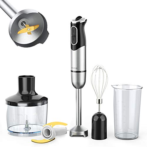 KOIOS 800W Immersion Hand Blender, Multifunctional 4-in-1 Low Noise Stick Mixer, 9-Speed, Stainless Steel, Titanium Plated Blade, 600ml Mixing Beaker, 800ml Chopper, and Whisk Attachment, BPA-Free