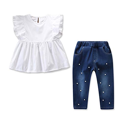 Tianhaik 2 stks Kids Meisje Ruches Mouw Shirt+Jeans Parel Broek Mode Outfit Kleding Set