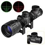 Dandelion Rifle Scope 2-6X Magnify,Red and Green Illuminated Optics Lens Mil-dot Gun Scopes with Sunshade Tube,Tactical Rifle Sight Free 20mm Picatinny Rail Mount