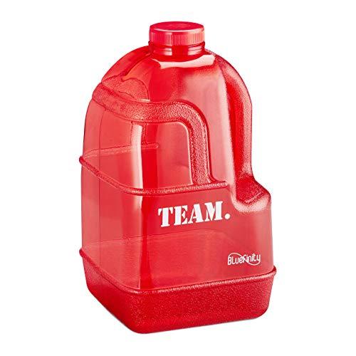 Bluefinity Botella Team de Agua para Deporte, Cantimplora XXL para Gimnasio, Libre de BPA y DEHP, 3,9 litros, Rojo