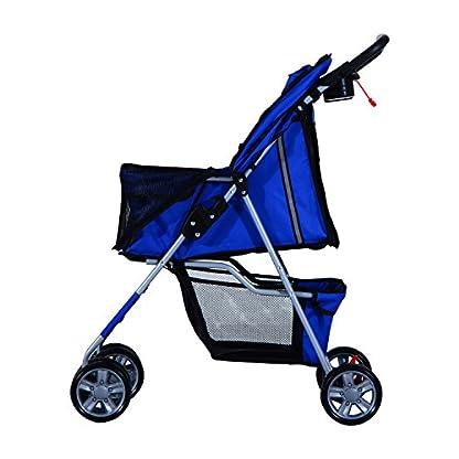 PawHut Pet 4 Wheels Travel Stroller Dog Cat Pushchair Trolley Puppy Jogger Folding Carrier (Blue) 7