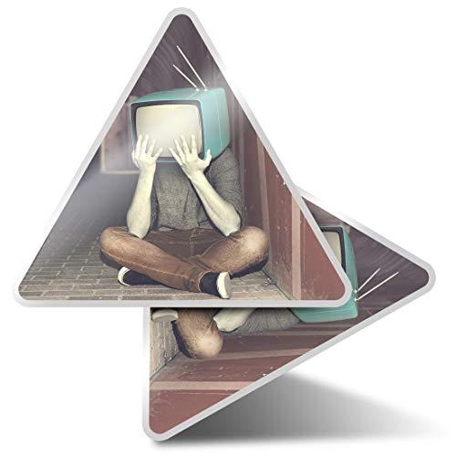 2 pegatinas triangulares de 10 cm – TV Box Head Boy Vintage Fantasy Art Fun Calcomanías para ordenadores portátiles, tabletas, equipaje, reserva de chatarra, neveras #14115