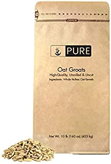 Oat Groats (10 lbs) by Pure Organic Ingredients & Uncut, High-in-Protein, Whole & Hulless Oat Kernels, High-in-Fiber, Eco-Friendly Packaging