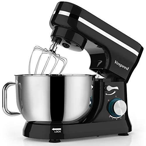 Vospeed Food Stand Mixer Dough Blender, 5 QT 1000W Electric Cake Mixer with Bowl, Beater, Hook, Whisk, Egg Separator & Silicone Spatula, Dishwasher Safe (Black)…