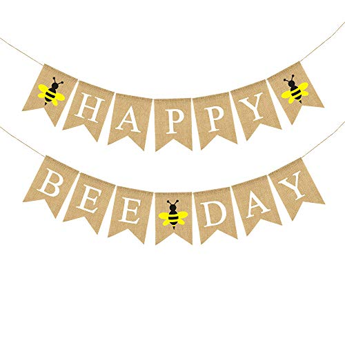 Jute Burlap Happy Bee Day Banner Boy Girl Bumble Bee Themed Birthday Party Decoration