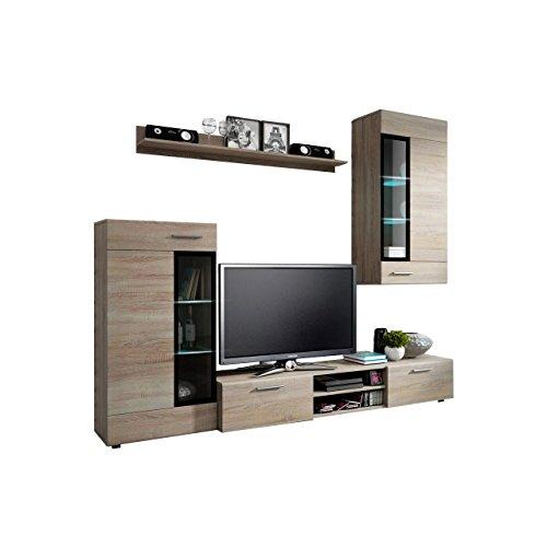 Wohnwand Twist, Design Modernes Wohnzimmer Set, Anbauwand, Schrankwand, Vitrine, TV Lowboard, Mediawand, (ohne Beleuchtung, Sonoma Eiche)