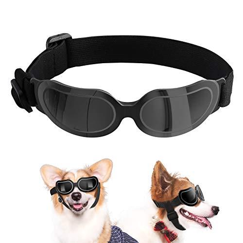 VavoPaw Hunde Sonnenbrille, UV Schutz Haustierschutzbrille mit Verstellbar Gurt und Weich Pad Rahmen Wasserdicht Winddicht Schutzbrille Modisch Augenschutz Brille für Kleine und Mittle Hunde, Schwarz