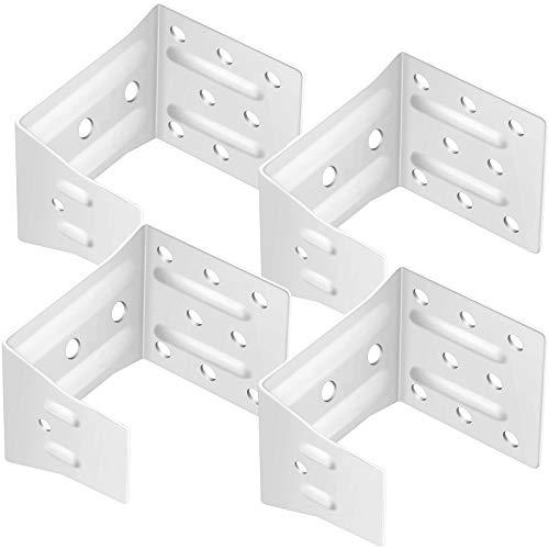 4 Pieces High Profile Box Mounting Brackets Window Blinds Headrail Brackets Mini White Blind Brackets Center Support Brackets for Window Blinds and Valance Installation