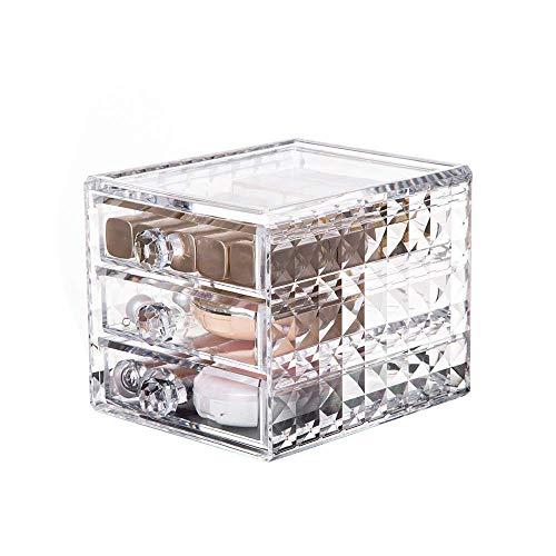 TYWZJ Makeup Organiser – Makeup Storage Unit with 3 Drawers – Cosmetic Storage Box – Lipstick Storage Box – Jewelry Box - 15.8 x 12 x 11.5 cm