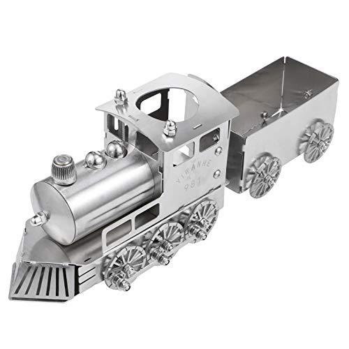 Veemoon Tren de Vapor Modelo Locomotora Acero Inoxidable Retro Decoración de Habitación para Niños Modelo de Tren