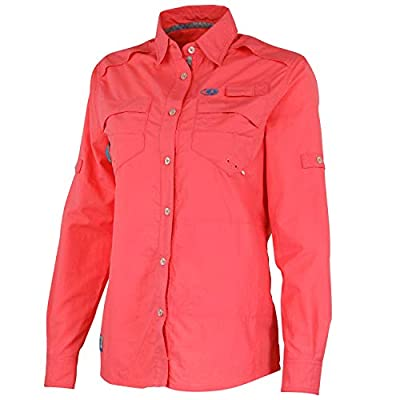 Mossy Oak Women's Standard Long Sleeve Performance Fishing Shirt, Coral, Small