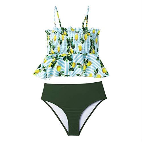 JINYIWEN Bikini Grüne Zitrone Print Rüschen Bikini Sets Frauen Cute Peplum Tank Zwei Stück Badeanzüge Mädchen Strand Badeanzüge XXL Grün