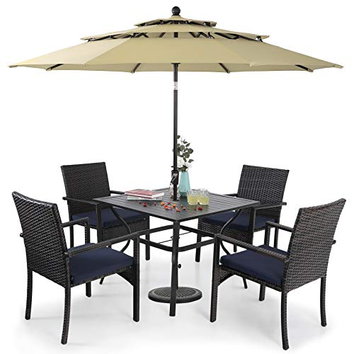 Sophia & William Outdoor 6 Pieces Dining Set with 4 PE Rattan Chairs, 1 Square Metal Table and 1 10ft 3 Tier Auto-tilt Umbrella Beige, Modern Patio Furniture for Poolside, Porch, Patio, Balcony