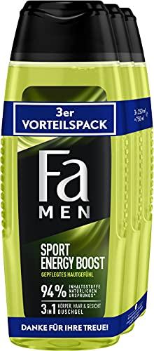 Fa Men 3in1 Körper, Haar & Gesicht Duschgel Sport Energy Boost, gepflegtes Hautgefühl 3er, 750 ml