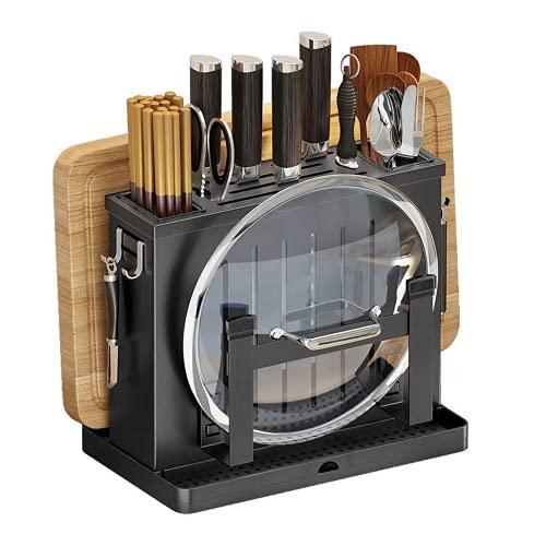 Estantes para Utensilios y Cubiertos de Cocina Porta Cuchillos de Acero Inoxidable Soportes para Almacenamiento de Palillos Montaje en Pared Organizadores de Tapa y Paneles