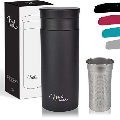 Milu Taza aislante de café y té para llevar - 350ml, 450ml 100% a prueba de fugas - acero inoxidable para beber - vaso de aislamiento al vacío - Caliente y frío - Taza de viaje (350ml, Negro)