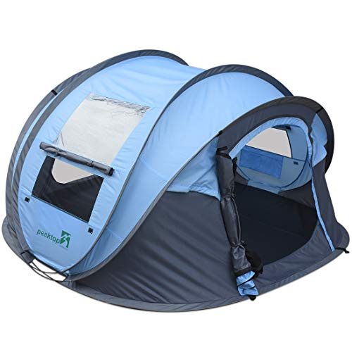 Peaktop Outdoor 2020 3-4 Person Automatic Pop up Camping Tent Blue Waterproof Lightweight Dome Tent Mesh Doors and Windows for Camping Hiking Backpack Beach