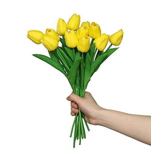 Anaoo 12pcs Flores de Tulipanes Artificiales de Látex, Floras Falsas Pero de Tacto Real Decoración para Banquete de Boda, Hogar, Fiestas, Jardín, Partido del Hotel, Amarillo