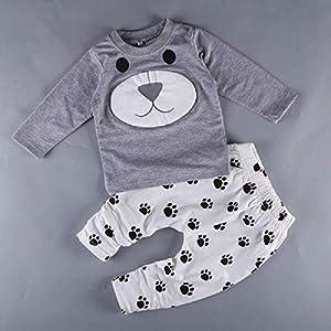 Baby Bär sweatshirt grau mit Hose weiß ab 3 bis 6 Monat Größe 70, Baby unisex junge kleine grau Kleid Mode Neugeborene