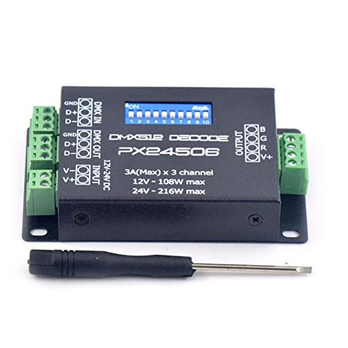 LED-Lampen-Adapter DC12V 24V PX24506 DMX 512 Decoder-Treiber-Verstärker-Controller for RGB LED Streifen-Licht, über Wärmeschutz
