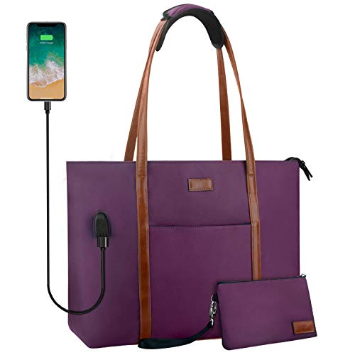 Laptop Tote Bag for Women Teacher Work Office USB Bags Fits 15.6 inches Laptop (Purple)