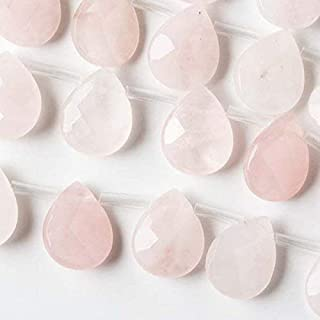 Cherry Blossom Beads Faceted Rose Quartz 12x15mm Top Drilled Faceted Teardrop Beads - 16 Inch Strand