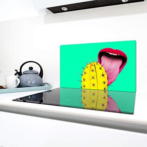 QTA - Cubierta de vitrocerámica, 1 pieza, 90 x 52 cm, placas de vidrio para cubrir la vitrocerámica de inducción, protección contra salpicaduras, placa de cristal, tabla de cortar, cactus