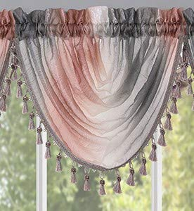 """Woven Trends Valances for Windows, Ombre Curtains Modern Semi-Sheer Valance, Luxurious Window Treatment for Livingroom, Bedroom and Kitchen, 46"""" x 42"""" Single Waterfall Valance, Blush"""