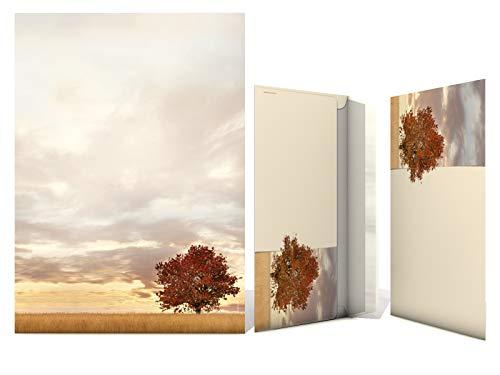 Briefpapier Set | Lonely Tree - Herbst-Baum | 20 Blatt Herbstliches Motivpapier A4 | 20 Briefumschläge OHNE FENSTER im DIN LANG-Format
