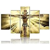 VUSMH Póster del Hijo de Dios Arte de Pared crucificado Pintura en Lienzo Ligera de Cristo hogar Salon de Estar Dormitorio Decoracion de Pared Cuadros 5 imágenes