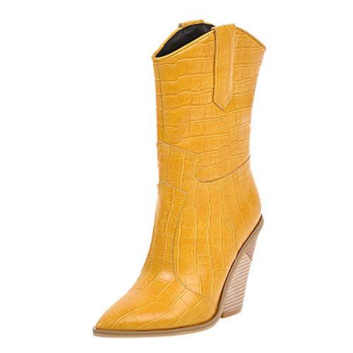 Boots Stiefel TTLOVE Plateau Stiefeletten Damen Leder Stiefel Plattform Western Cowboystiefel Winter Kurzschaft Halbschaft Absatz Hohe High Heel Gothic Halbhohe Stiefel (Gelb,39 EU)