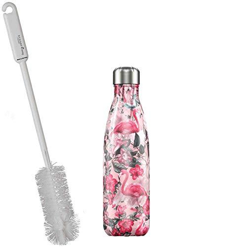 CHILLYs Trinkflasche & Isolierflasche Tropical Flamingo Bottle - Edelstahl Thermos Wasserflasche - Flasche hält 24 Std. kalt & 12 Std. heiß + SCHARFsinnig Flaschenbürste