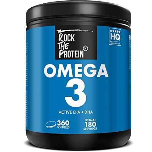 Omega 3 1000mg Olio di Pesce Alto Dosaggio  con 360mg EPA e 240mg DHA per Dose Integratore Omega 3 puro di Fish Oil Ricco di Acidi Grassi Essenziali  Rock The Protein (1 barattolo da 360 capsule)
